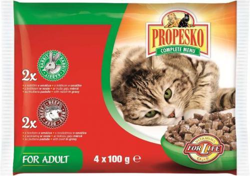 PROPESKO Cat hovìzí a králièí, kapsa 100 g (pack 4 ks)