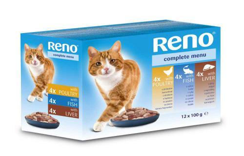 RENO Cat drùbeží, rybí a játra, kapsa 100 g (pack 12 ks)