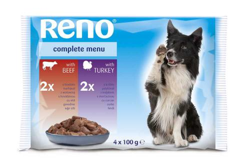 RENO Dog hovìzí a krùta, kapsa 100 g (pack 4 ks)