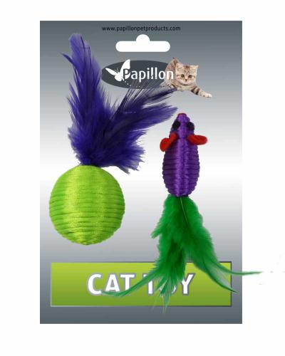 Myš a míèek s peøím zeleno-fialová mat