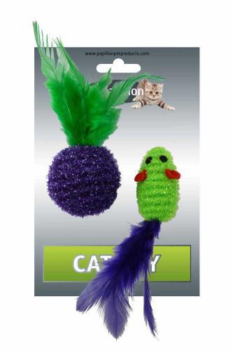 Myš a míèek s peøím zeleno-fialová tøpyt