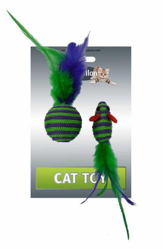 Myš a míèek s peøím zeleno-fialová pruhy mat