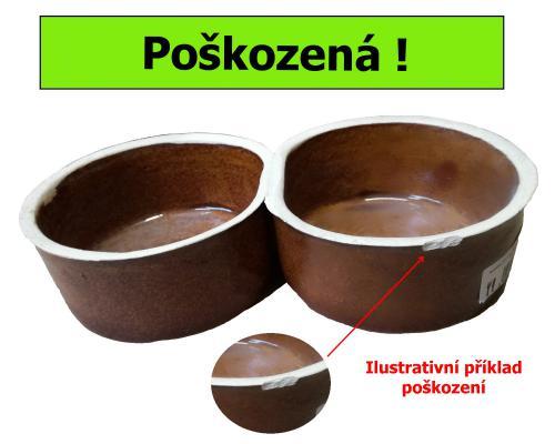Miska keramická dvojmiska 2 x 0,5 l - SLEVA 8 % (II.jakost)