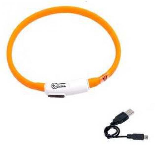 Karlie LED obojek dobíjecí oranžová 35 cm