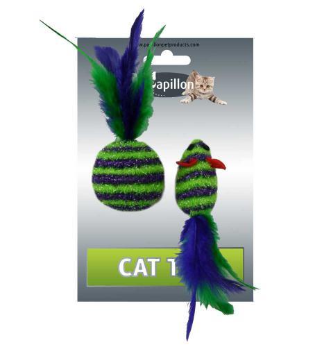 Myš a míèek s peøím zeleno-fialová pruhy tøpyt