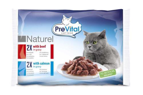 PreVital Naturel hovìzí a losos, kapsa 85 g (pack 4 ks)