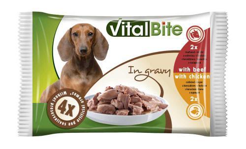 VitalBite pes hovìzí & kuøecí, kapsa 85 g (4 ks)