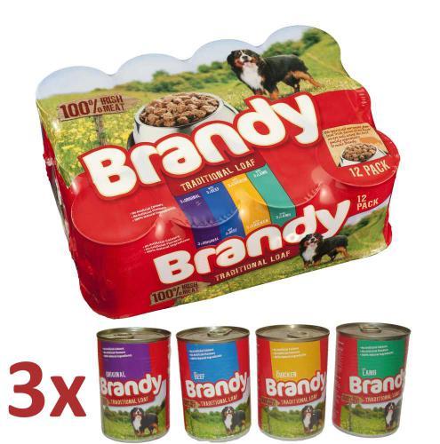 Brandy Variety kousky masa 4 druhy, konzerva 395 g (pack 12 ks)
