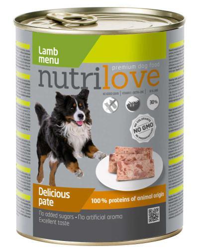 Nutrilove pes jehnìèí paté, konzerva 800 g