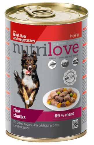 Nutrilove pes hovìzí, játra, zelenina kousky v želé, konzerva 415 g