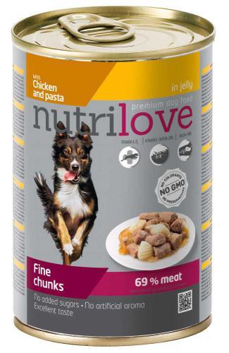 Nutrilove pes kuøecí, tìstoviny kousky v želé, konzerva 415 g