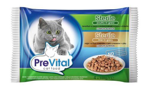 PreVital koèka sterilní játra a drùbeží, kapsa 100 g (pack 4 ks)