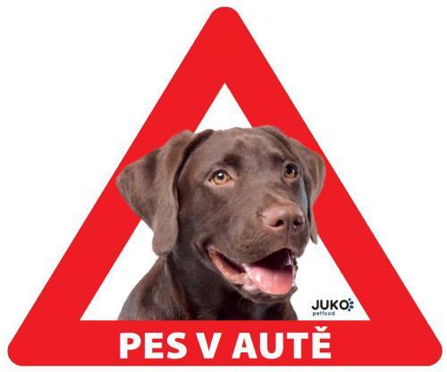 Samolepka pes v autì vnitøní - labrador hnìdý
