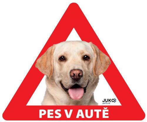 Samolepka pes v autì vnitøní - labrador žlutý