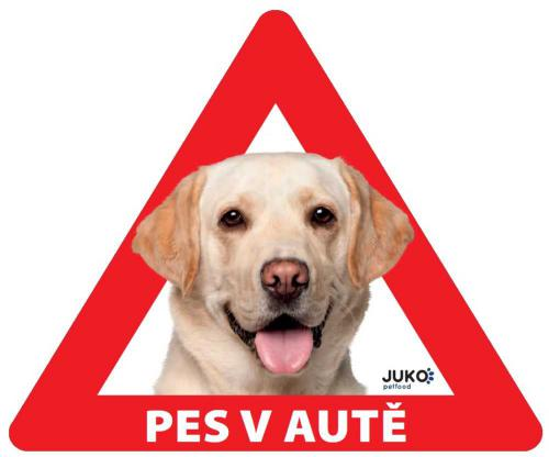 Samolepka pes v autì venkovní - labrador žlutý