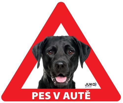Samolepka pes v autì venkovní - labrador èerný