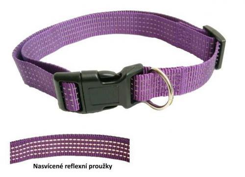 Obojek popruhový reflexní fialová 2,5 x 40-55 cm