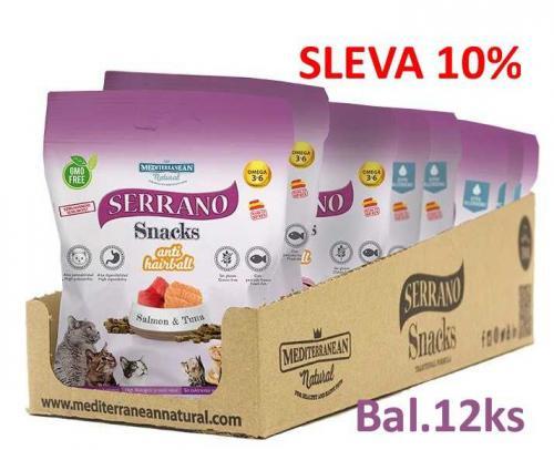 Serrano Snack for Cat AntiHairball Salmon & Tuna 50 g (12 ks) AKCE 10 %