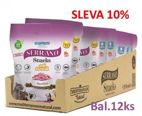 Serrano Snack for Cat AntiHairball Sardine 50 g (12 ks) AKCE 10 %