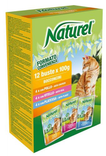 Naturel Cat Chicken, Veal, Plaice, kapsièka 100 g (box 12 ks)