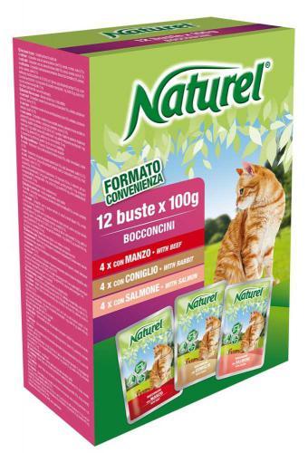 Naturel Cat Beef, Rabbit, Salmon, kapsièka 100 g (box 12 ks)