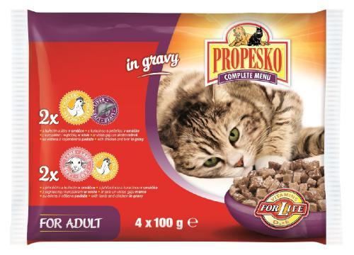 PROPESKO Cat kuøecí/játra a jehnìèí/kuøecí, kapsa 100 g (pack 4 ks)
