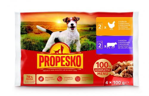 PROPESKO Dog hovìzí a kuøecí, kapsa 100 g (pack 4 ks)