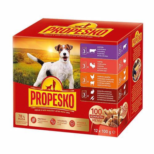 PROPESKO Dog kuøecí/jehnìèí, krùta, králík s mrkví, kapsa 100 g (pack 12 ks)