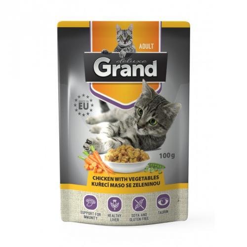 Grand deluxe Cat kuøecí maso se zeleninou 100 g