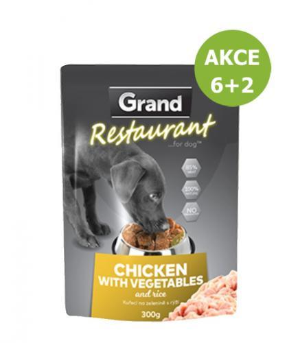 Grand deluxe Restaurant Kuøecí na zeleninì kapsy pro psy 300 g AKCE 6+2