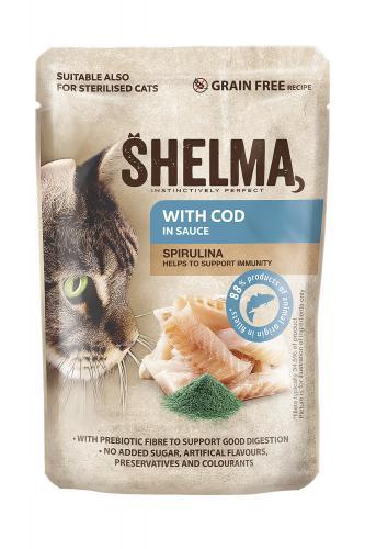 SHELMA Cat treska se spirulinou v omáèce, kapsa 85 g
