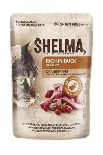 SHELMA Cat kachní s brusinkami v omáèce, kapsa 85 g