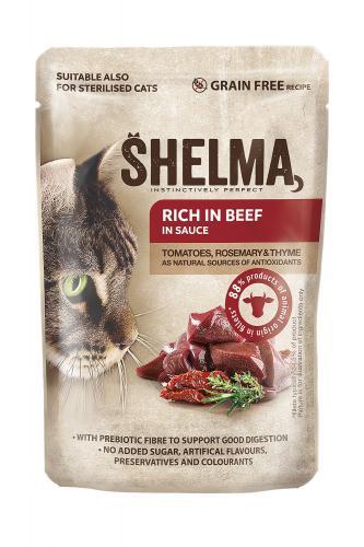 SHELMA Cat hovìzí s rajèaty a bylinkami v omáèce, kapsa 85 g
