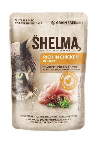 SHELMA Cat kuøecí s rajèaty a bylinkami v omáèce, kapsa 85 g