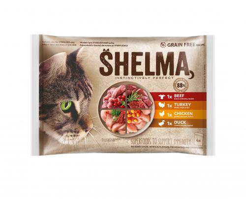 SHELMA Cat kuøecí, hovìzí, kachní a krùtí, kapsa 85 g (4 ks)