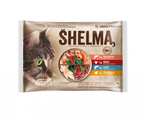 SHELMA Cat kuøecí, hovìzí, losos a treska, kapsa 85 g (4 ks)
