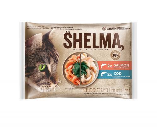 SHELMA Cat losos a treska, kapsa 85 g (4 ks)