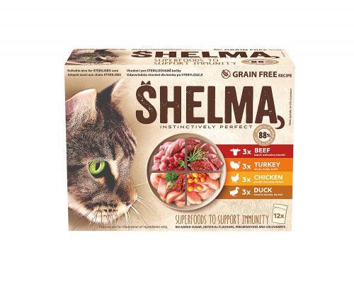 SHELMA Cat kuøecí, hovìzí, losos a treska, kapsa 85 g (12 ks)