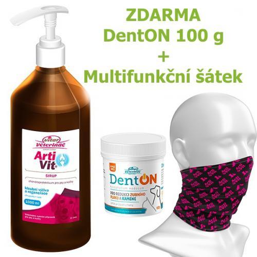 Vitar veterinae Artivit sirup s pumpièkou 1000 ml DÁREK DENTON 100 g a Multifunkèní šátek Vitar