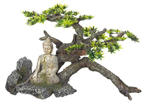 Nobby akvarijní dekorace Buddha s rostlinou 32,5x16,5x21cm
