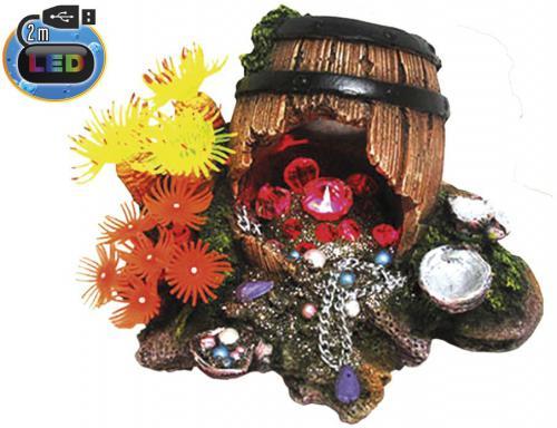 Nobby akvarijní dekorace sud s pokladem s LED 16,2 x 12,5 x 12,5 cm