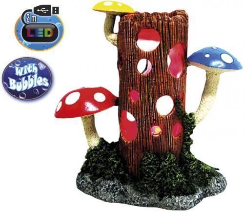 Nobby akvarijní dekorace kmen s houbami s LED 23,8 x 11,7 x 23,3 cm