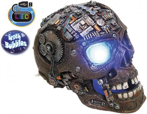 Nobby akvarijní dekorace Cyborg lebka s LED 20,8 x 13,7 x 15 cm