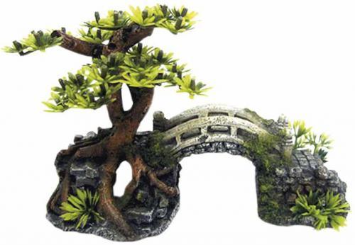 Nobby akvarijní dekorace most s bonsají 20,3 x 9 x 14 cm