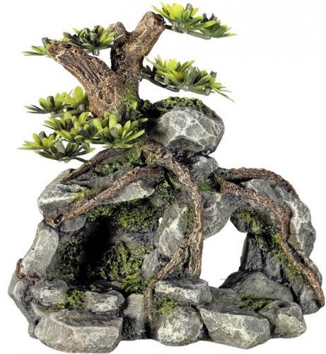 Nobby akvarijní dekorace strom na skále 13,3 x 9,5 x 12,8 cm