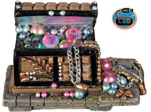 Nobby akvarijní dekorace truhla s LED 15,7 x 8,7 x 11,3 cm