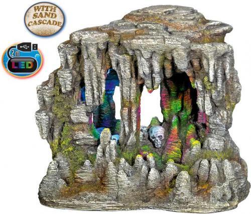Nobby akvarijní dekorace jeskynì s LED a pískovou kaskádou 22,5 x 14,7 x 21 cm