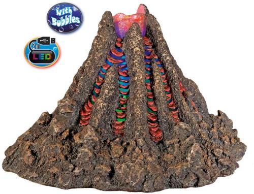 Nobby akvarijní dekorace vulkán s LED a vzduchováním 22,7 x 19,5 x 14,5 cm