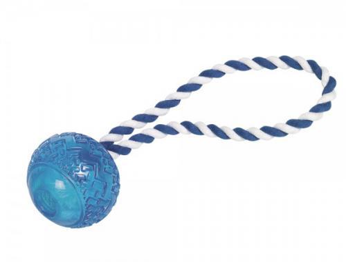 Nobby hraèka pro psy TRP míè s lanem modrá 7cm