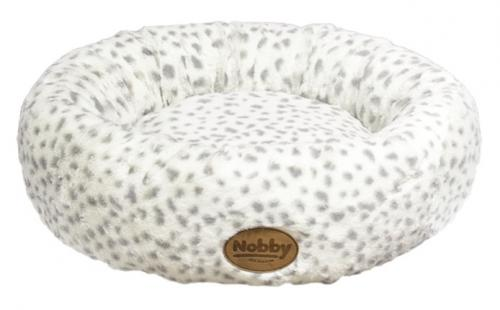 Nobby Alanis donut plyšový pelíšek leopard šedá 45cm